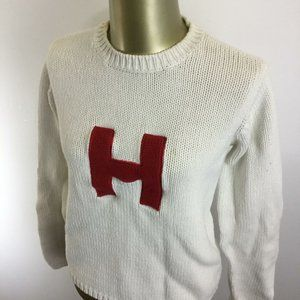"""TOMMY HILFIGER Crew Neck Embroidered """"H"""" White"""